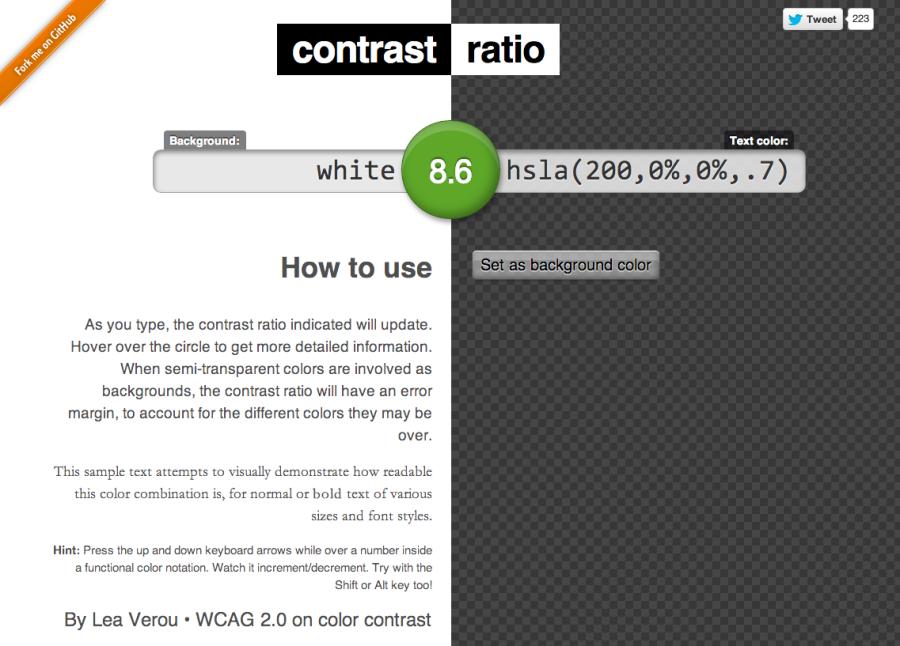 Easy Color Contrast Ratios